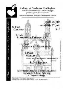 Affiche - Concert 2003 - Bizet, Lalo, Fauré, Paget