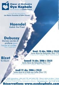 Affiche - Concert 2006 - Haendel, Debussy, Bizet